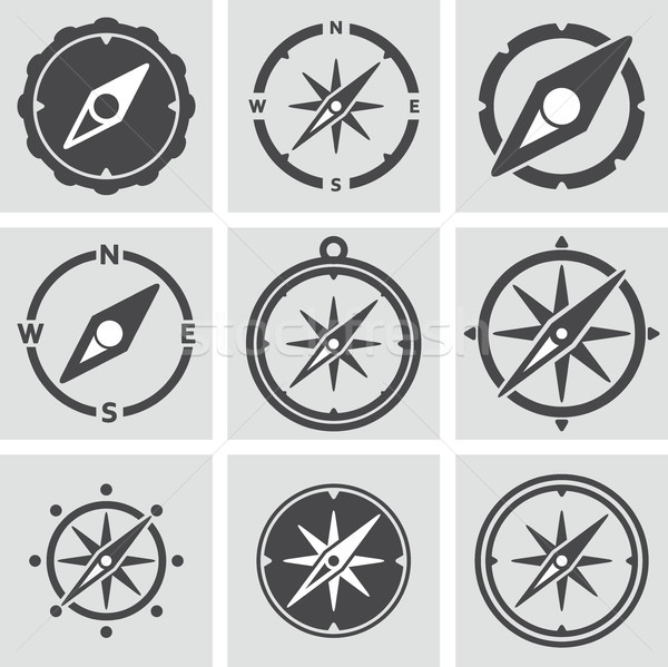 vector collection of compass icons Stock photo © freesoulproduction