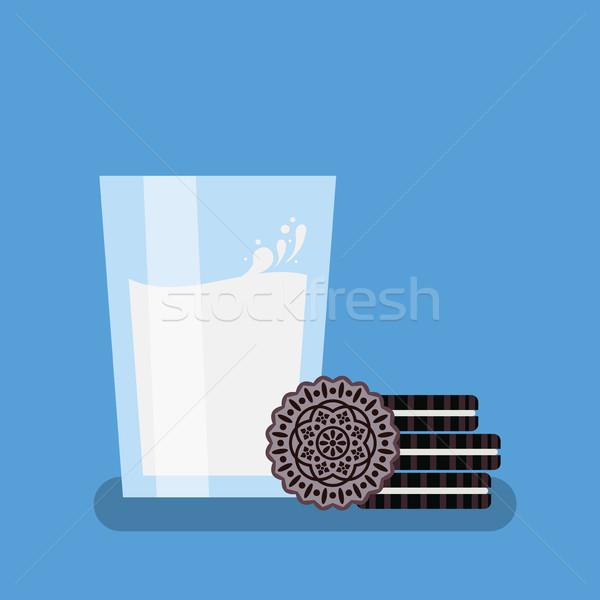 vector breakfast illustration, oreo cookies, glass of milk Stock photo © freesoulproduction