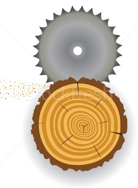 Zag boom plakje illustratie hout werk Stockfoto © freesoulproduction