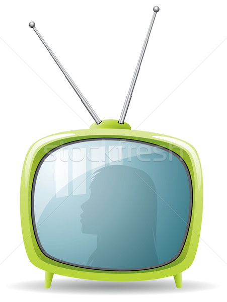 vector green retro tv set Stock photo © freesoulproduction