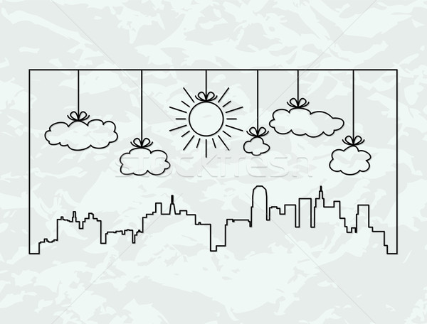 vector city contours of buildings and clouds Stock photo © freesoulproduction