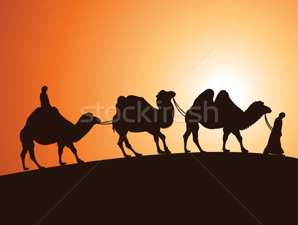 vector caravan of bactrian camels and bedouins in  desert  Stock photo © freesoulproduction
