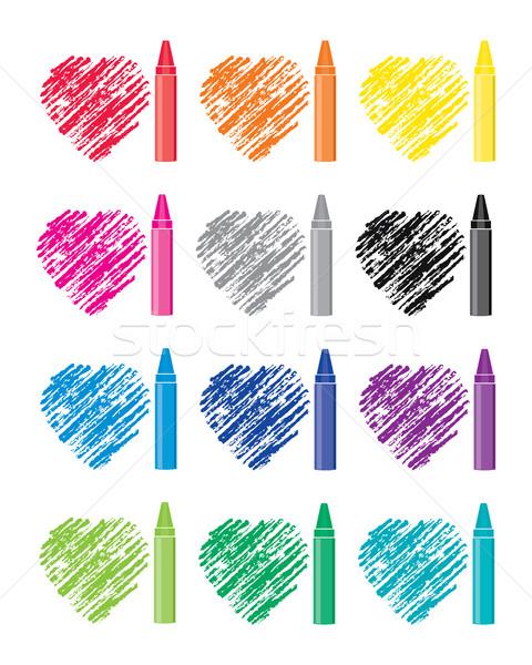 Vektor színes szett zsírkréták szív rajzok Stock fotó © freesoulproduction