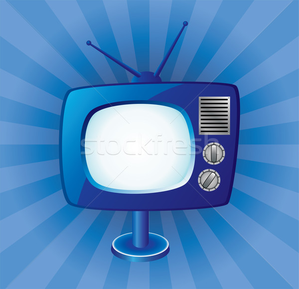 vector blue retro tv set  Stock photo © freesoulproduction