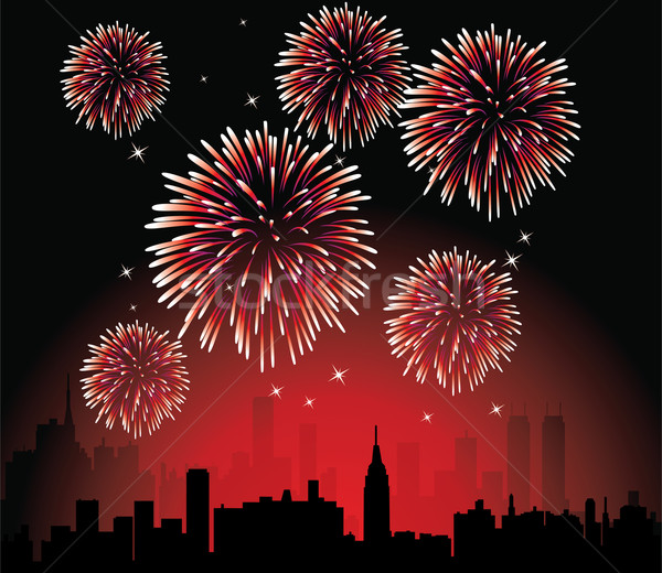 Stock photo: vector fireworks over a city