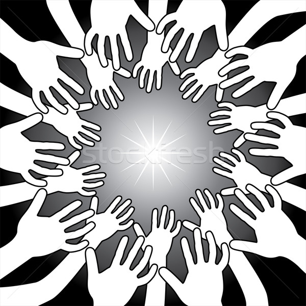 vector hands around bright light Stock photo © freesoulproduction