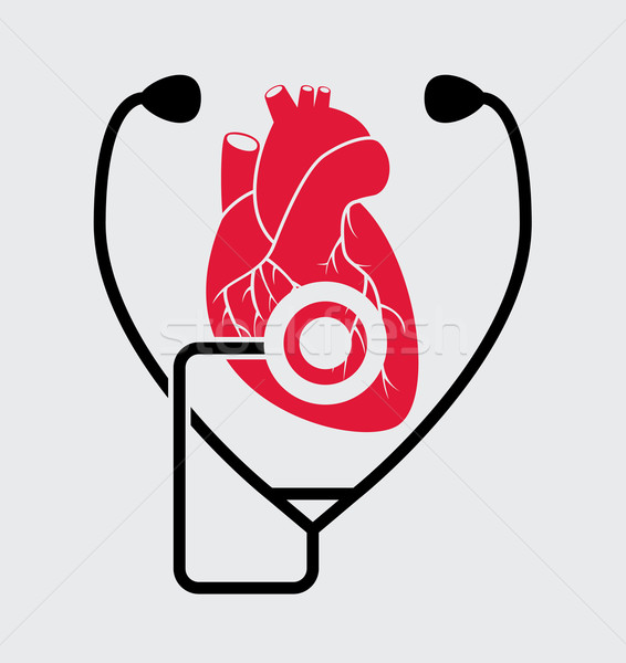 vector symbol of medical check of heart health and heartbeat wit Stock photo © freesoulproduction