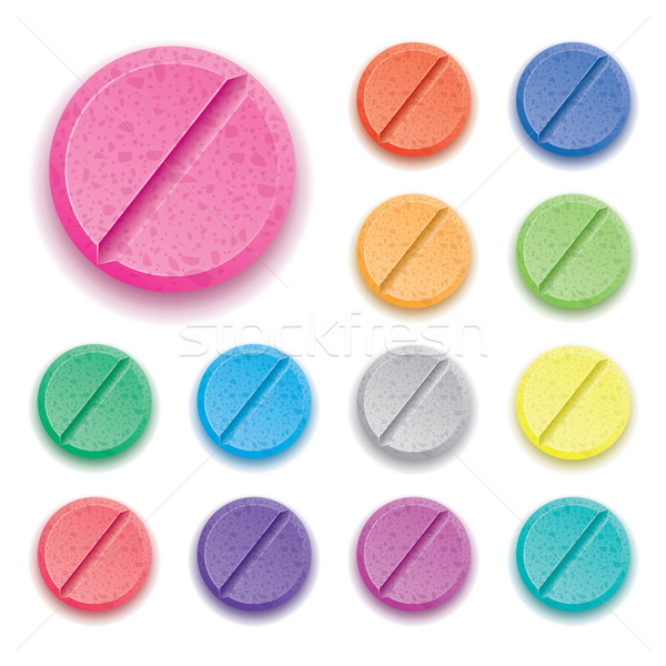 vector set of colorful drug pills  Stock photo © freesoulproduction