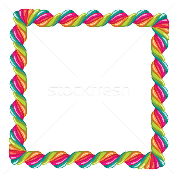vector border of colorful twisted lollipop candy  Stock photo © freesoulproduction