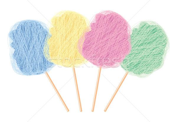 Vektor színes cukorka pamut szett izolált Stock fotó © freesoulproduction