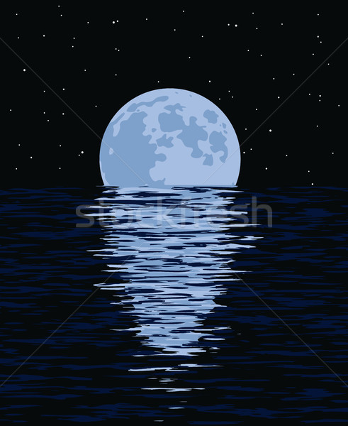 vector background of sea and full moon at night Stock photo © freesoulproduction