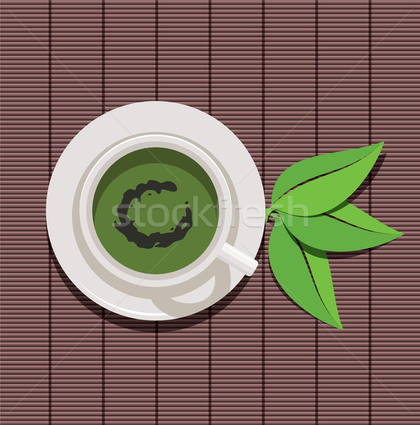 вектора дизайна Кубок зеленый чай зеленые листья лист Сток-фото © freesoulproduction