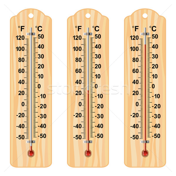 vector set of wooden thermometers Stock photo © freesoulproduction