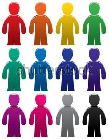 Színes szimbólumok emberek vektor szett tömeg Stock fotó © freesoulproduction