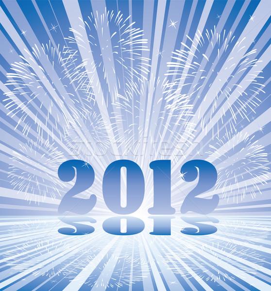 Nouvelle année 2012 nombre feux d'artifice vecteur Photo stock © freesoulproduction
