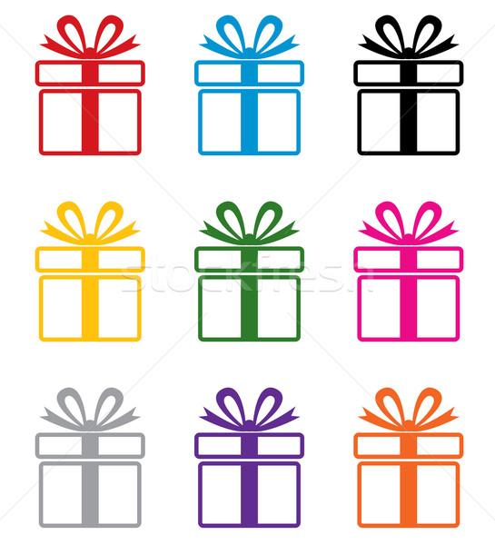ベクトル カラフル ギフトボックス シンボル セット デザイン ストックフォト © freesoulproduction