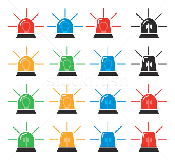 vector set of emergency and police siren icons Stock photo © freesoulproduction