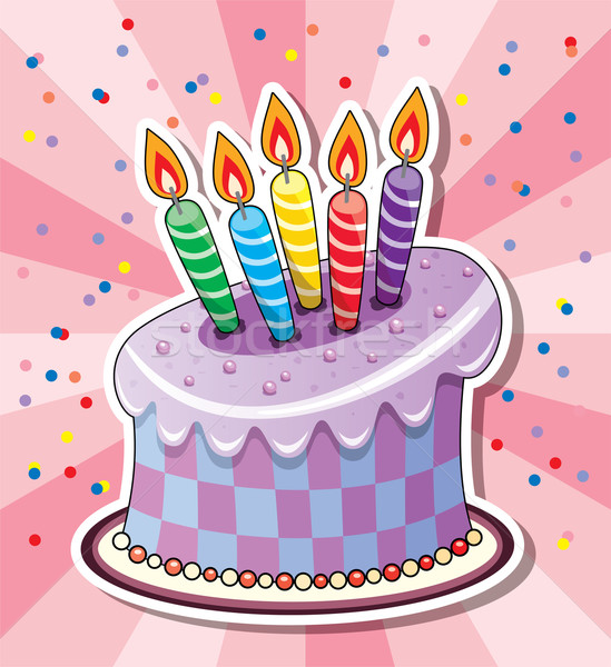 Bolo de aniversário vetor velas confete comida festa Foto stock © freesoulproduction