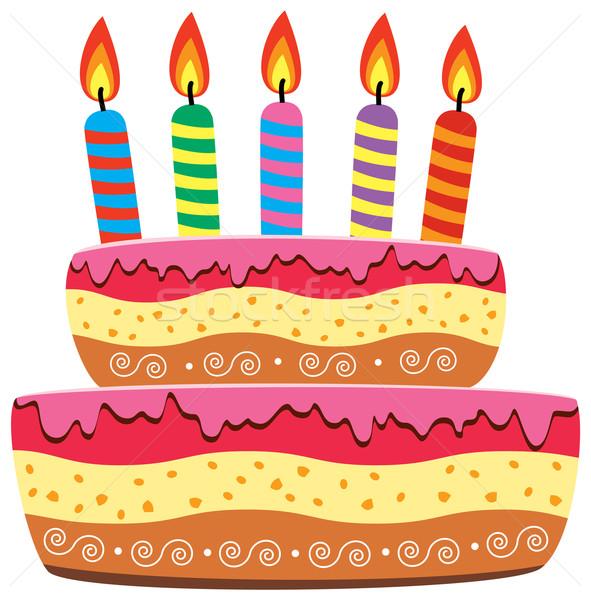 Vetor bolo de aniversário ardente velas festa fogo Foto stock © freesoulproduction
