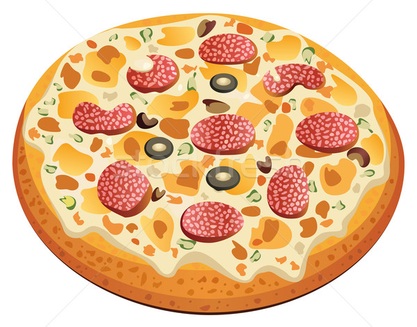 pizza with salami  Stock photo © freesoulproduction