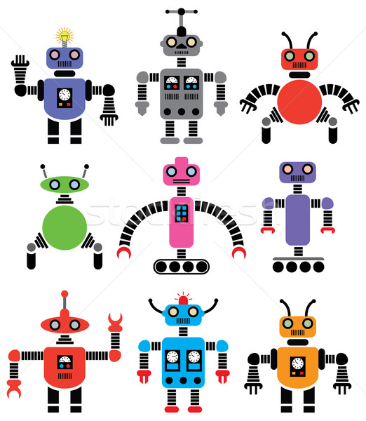 Vecteur robots couleurs Photo stock © freesoulproduction