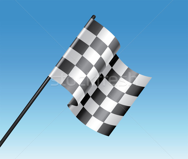 vector racing checkered flag and blue sky Stock photo © freesoulproduction