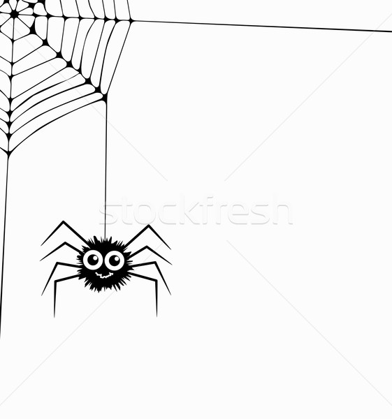 vector cartoon of hanging spider and web network Stock photo © freesoulproduction
