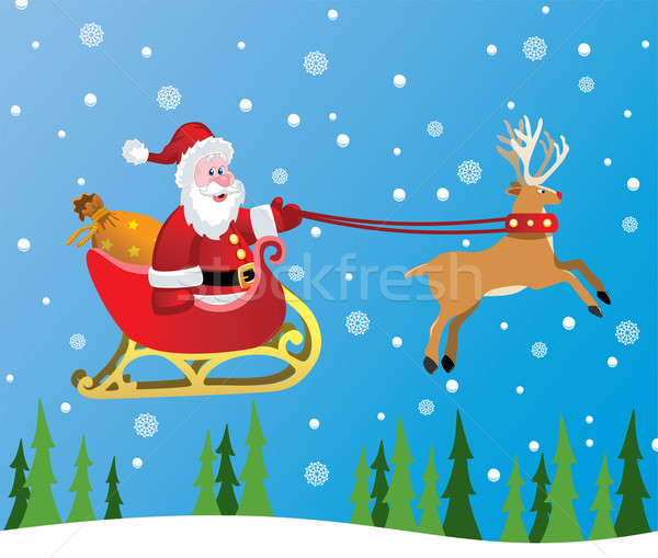 vector santa claus and red nosed reindeer Stock photo © freesoulproduction