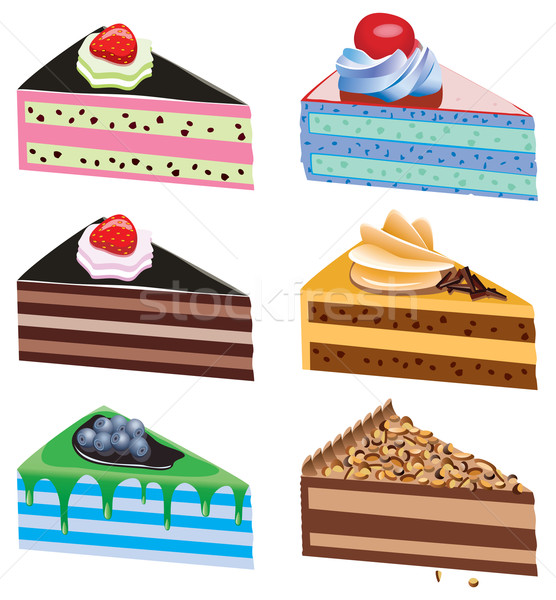Vector torta rebanadas frutas chocolate alimentos Foto stock © freesoulproduction