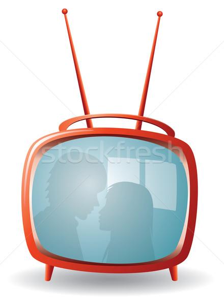 ストックフォト: ベクトル · 赤 · レトロな · テレビ · 愛 · テレビ