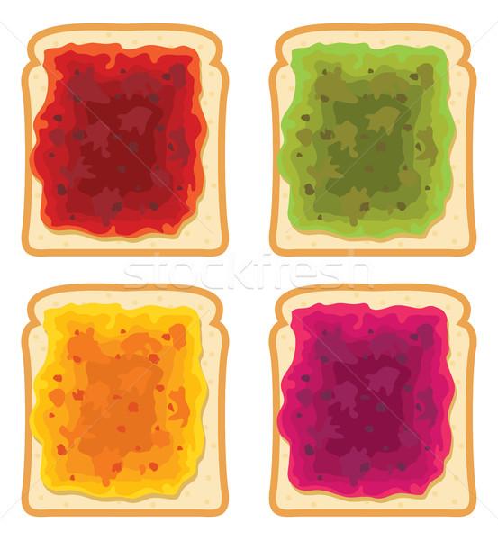 ベクトル セット 白パン スライス フルーツ ジャム ストックフォト © freesoulproduction