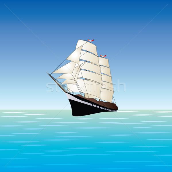 Vector zeilschip illustratie oude boot Open Stockfoto © freesoulproduction