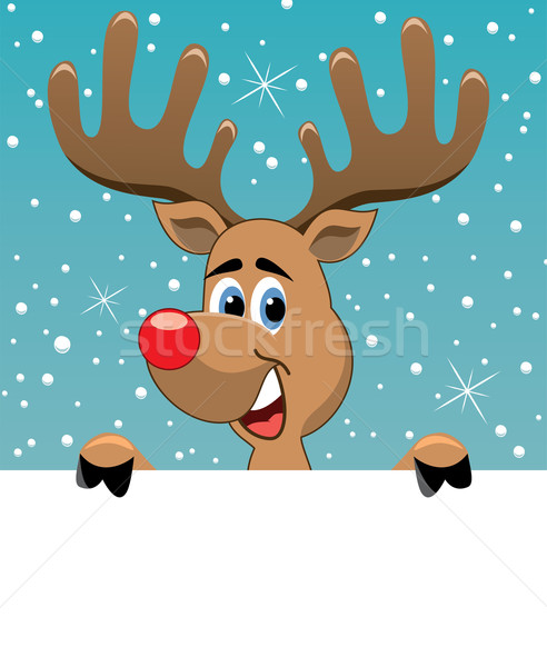 vector rudolph deer holding blank paper Stock photo © freesoulproduction