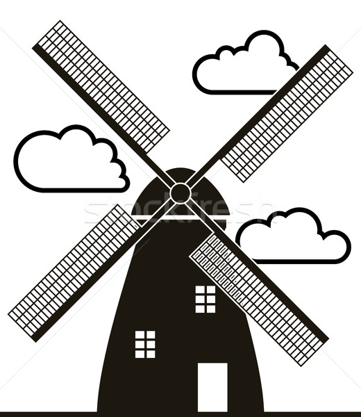 Vector zwart wit windmolen wolken gebouw technologie Stockfoto © freesoulproduction