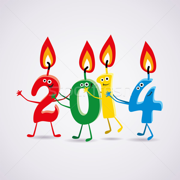 vector new year 2014 card with  candles Stock photo © freesoulproduction