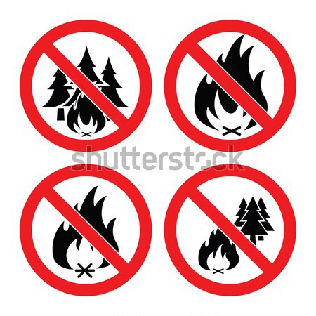 Stock photo: vector collection of no forest fire icons