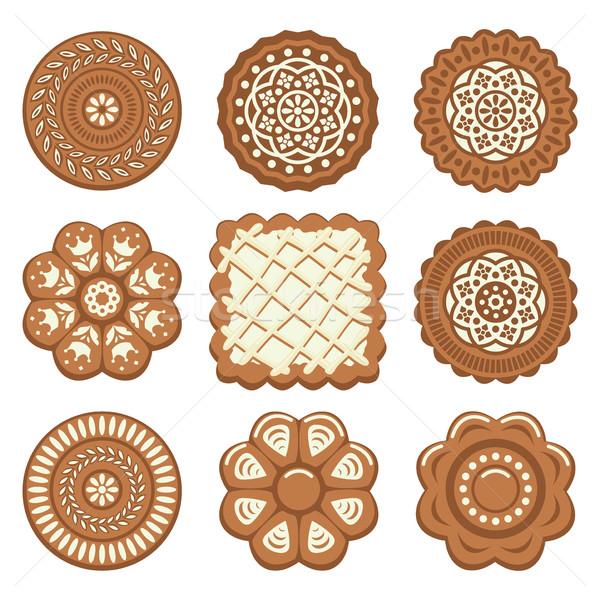 Vector ingesteld biscuit chip cookies verschillend Stockfoto © freesoulproduction