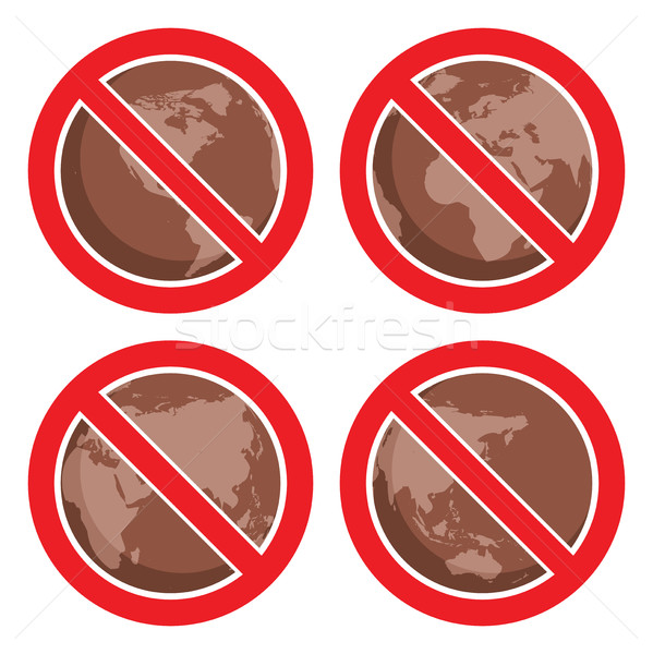 vector flat icons to stop global earth pollution Stock photo © freesoulproduction