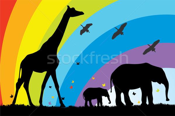 Vektor zsiráf elefántok Afrika család fű Stock fotó © freesoulproduction