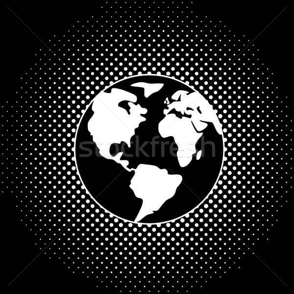 Vetor preto e branco terra globo ilustração abstrato Foto stock © freesoulproduction