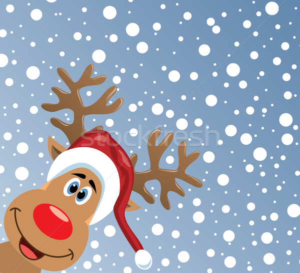 vector  red nosed reindeer  Stock photo © freesoulproduction
