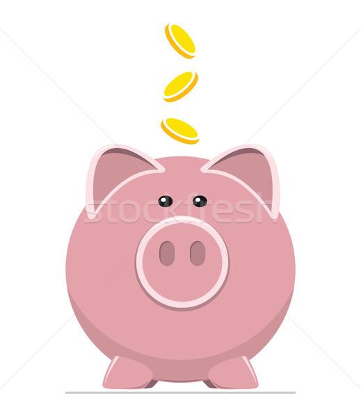 Stock fotó: Vektor · ikon · disznó · bank · érmék · megtakarítás