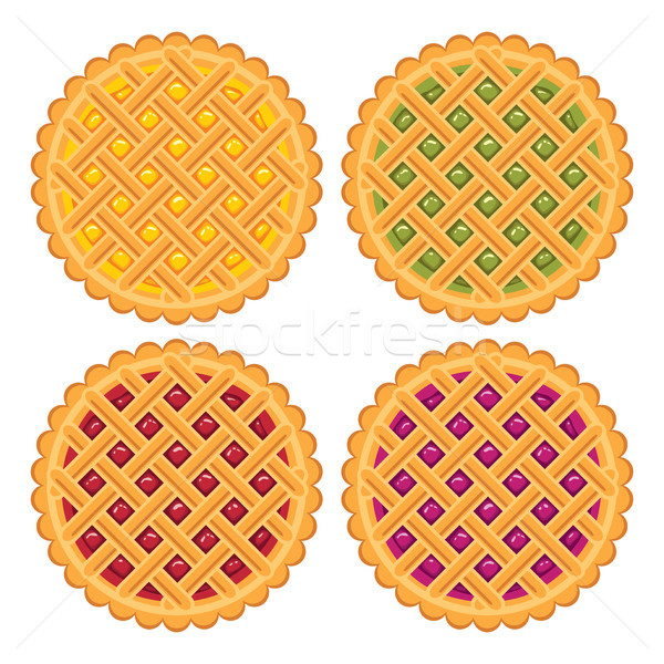Stock photo: vector collection of homemade fruit and berry pies