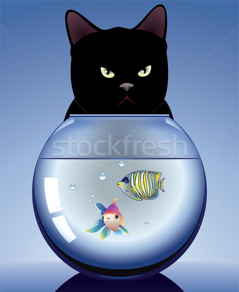 黒猫 水族館 ベクトル 魚 自然 ストックフォト © freesoulproduction