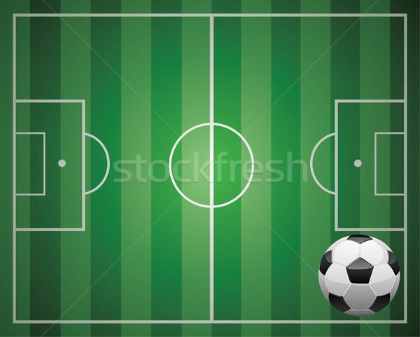 Balón de fútbol campo ilustración verde negocios Foto stock © freesoulproduction