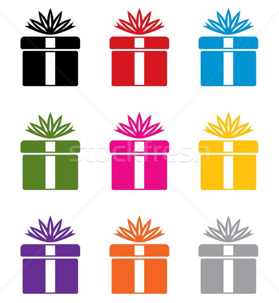 Stock fotó: Vektor · szett · színes · ajándék · doboz · szimbólumok · terv