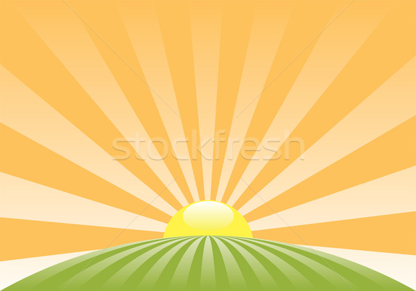 vector abstract rural landscape with rising sun  Stock photo © freesoulproduction