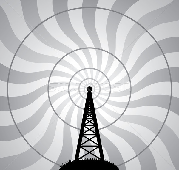 Vector radio toren lucht golven ontwerp Stockfoto © freesoulproduction