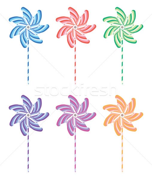 vector colorful and striped pinwheel set Stock photo © freesoulproduction