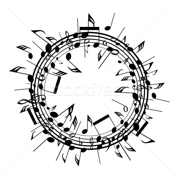 vector  round background with staves and music notes Stock photo © freesoulproduction